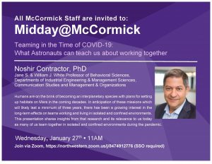 Noshir Contractor delivered a talk at Midday@McCormick